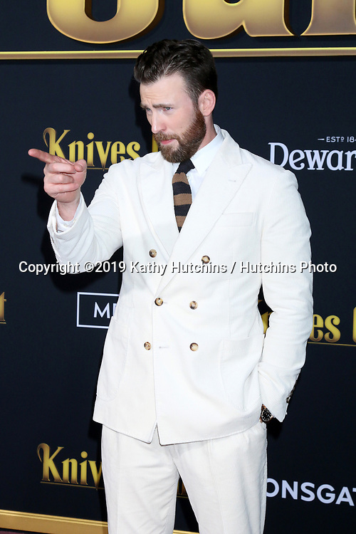 """LOS ANGELES - NOV 14:  Chris Evans at the """"Knives Out"""" Premiere at Village Theater on November 14, 2019 in Westwood, CA"""