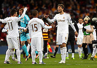 Pictured: (L-R) Pablo Hernandez, Gerhard Tremmel, Wayne Routledge, Michu. Sunday 24 February 2013<br /> Re: Capital One Cup football final, Swansea v Bradford at the Wembley Stadium in London.