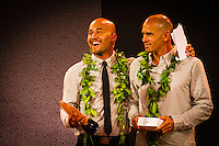 HONOLULU, Oahu, Turtle Bay Resort. Thursday 6th 2012. Fred Patacchia (HAW) with Kelly Slater (USA). .Since moving the show to Oahu's North Shore three years ago, the 2012 SURFER Poll saw its largest turn out ever. From surfing's best to local legends, the packed house witnessed another historic night, as Kelly Slater (USA) and Stephanie Gilmore (AUS) won this year's Men's and Women's Polls. Gabriel Medina (BRA) won the Andy Irons Break Out Performer of the year award and finished #4 on the Surfer Poll while Dane Reynolds (USA) picked up two awards as well. Photo: joliphotos.com