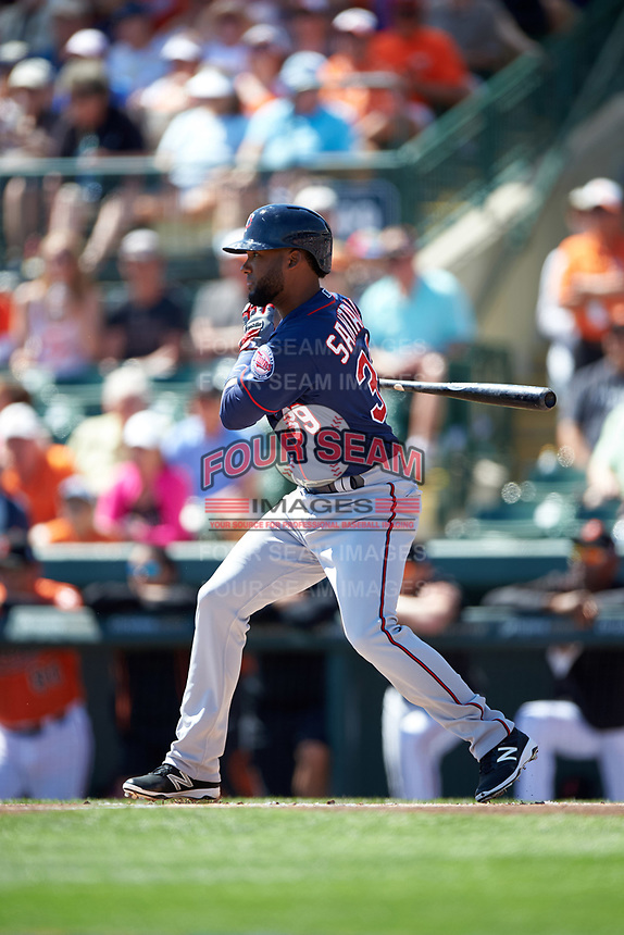 Minnesota Twins shortstop Danny Santana (39) at bat during a Spring Training game against the Baltimore Orioles on March 7, 2016 at Ed Smith Stadium in Sarasota, Florida.  Minnesota defeated Baltimore 3-0.  (Mike Janes/Four Seam Images)