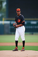 GCL Orioles pitcher Ofelky Peralta (35) gets ready to deliver a pitch during the first game of a doubleheader against the GCL Rays on August 1, 2015 at the Ed Smith Stadium in Sarasota, Florida.  GCL Orioles defeated the GCL Rays 2-0.  (Mike Janes/Four Seam Images)