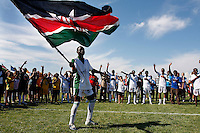 Players of Kenyan team Mathare UTD celebrate their victory over Lebanese team Al-Shabab. Norway Cup is the worlds largest football tournament, in 2008 bringing together 30.000 children from all over the world, aged 10 to 19. They make up 1386 teams playing a total of 4400 matches during the week they play. The tournament is played on a big grass field just outside the center of Oslo, Norway.