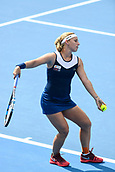 9th January 2018, Sydney Olympic Park Tennis Centre, Sydney, Australia; Sydney International Tennis, round 1; Dominika Cibulkova (SVK) prepares to serve in her match against Elena Vesnina (RUS)
