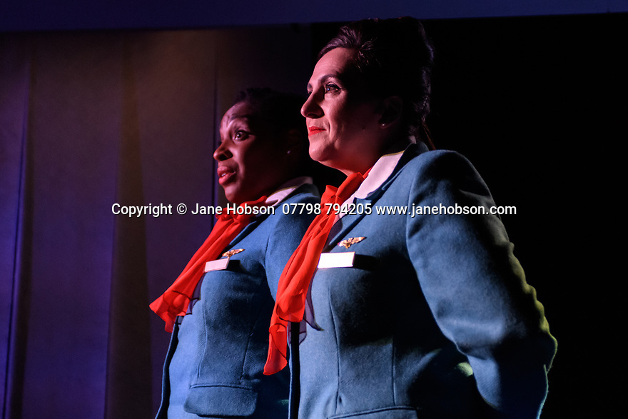 """Edinburgh, UK. 26.07.2019.  """"Enough"""", written by Stef Smith and directed by Bryony Shanahan, opens at the Traverse Theatre, as part of the Edinburgh Festival Fringe. Picture shows: Amanda Wright, Louise Ludgate. Photograph © Jane Hobson."""