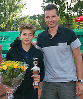 August 9, 2014, Netherlands, Rotterdam, TV Victoria, Tennis, National Junior Championships, NJK,  Prize giving, Richard Krajicek with Amadatus Admiraal, runner up  boys 14 years<br /> Photo: Tennisimages/Henk Koster