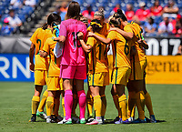 San Diego, CA - Sunday July 30, 2017: The starting eleven Australia during a 2017 Tournament of Nations match between the women's national teams of the Australia (AUS) and Japan (JAP) at Qualcomm Stadium.