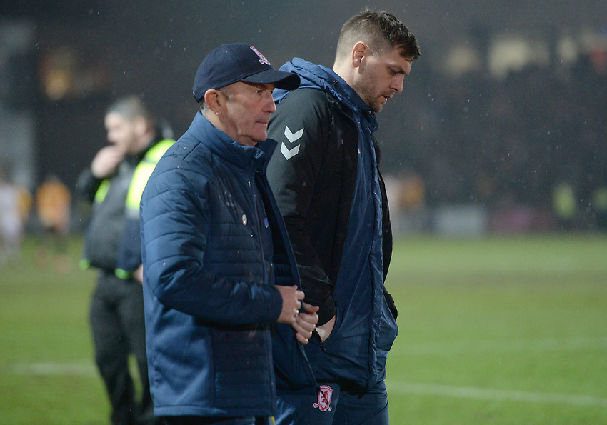 A dejected Middlesbrough manager Tony Pulis at the final whistle <br /> <br /> Photographer Ian Cook/CameraSport<br /> <br /> Emirates FA Cup Fourth Round Replay - Newport County v Middlesbrough - Tuesday 5th February 2019 - Rodney Parade - Newport<br />  <br /> World Copyright © 2019 CameraSport. All rights reserved. 43 Linden Ave. Countesthorpe. Leicester. England. LE8 5PG - Tel: +44 (0) 116 277 4147 - admin@camerasport.com - www.camerasport.com