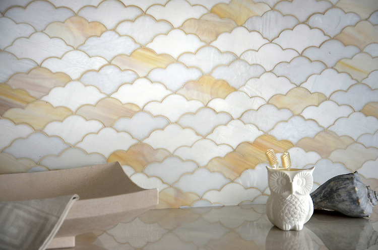 Clouds, a waterjet glass mosaic shown in Opal, Agate, and Moonstone, is part of the Erin Adams Collection for New Ravenna.