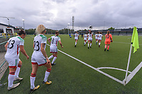 OHL entering the pitch before a female soccer game between Oud Heverlee Leuven and AA Gent Ladies  on the first matchday of the 2020 - 2021 season of Belgian Women's SuperLeague , sunday 30 of August 2020  in Heverlee , Belgium . PHOTO SPORTPIX.BE | SPP | STIJN AUDOOREN