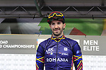 Eduard-Michael Grosu of Romania at sign on before the Men Elite Road Race of the UCI World Championships 2019 running 280km from Leeds to Harrogate, England. 29th September 2019.<br /> Picture: Eoin Clarke | Cyclefile<br /> <br /> All photos usage must carry mandatory copyright credit (© Cyclefile | Eoin Clarke)