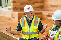 NWA Democrat-Gazette/BEN GOFF @NWABENGOFF<br /> John Tyson, chairman of the board of Tyson Foods, talks to the press Wednesday, Nov. 8, 2017, during a tour of the new Tyson Foods building in downtown Springdale. The nearly complete facility preserves and incorporates two buildings on East Emma Avenue, the former Tyson Foods headquarters and the Brown Hatchery building.