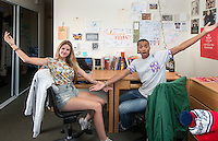 "Oxy Programming Board-sponsored ""Best Room on Campus Contest"" winners Deon Summerville '16 and Marissa Feldman '16 pose in their Berkus Hall room, Oct. 1, 2014. The contest was held on Facebook. (Photo by Marc Campos, Occidental College Photographer)"