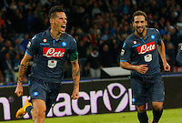 Marek Hamsik celebrates after scoring  his second gol  during the Italian Serie A soccer match between SSC Napoli and Verona  at San Paolo stadium in Naples, October 26, 2014