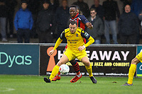 Chris Dickson of Hampton & Richmond Borough and Jordan Clark of AFC Hornchurch during Hampton & Richmond Borough vs AFC Hornchurch, Emirates FA Cup Football at the Beveree Stadium on 6th October 2018