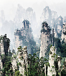 Floating mountains in fog, landscape scenery of Zhangjiajie National Forest Park, Zhangjiajie, Hunan, China Image © MaximImages, License at https://www.maximimages.com