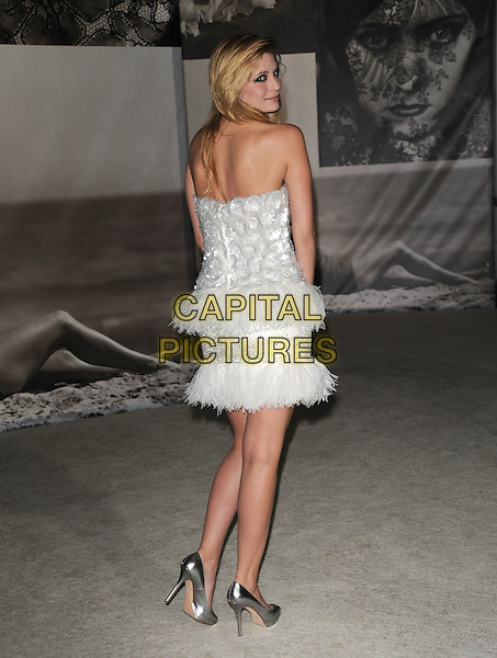 MISCHA BARTON .at the Vanity Fair and Burberry preview of the Vanity Fair Portraits 1913?2008 exhibition at LACMA in Hollywood, California, USA, October 21st 2008.                                                                     .full length white silver strapless feather trim dress back rear behind over shoulder shoes fluffy .CAP/DVS.©Debbie VanStory/Capital Pictures