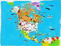 Illustrated map of North and Central American culture and wildlife