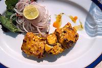 Indien, Udaipur, Restaurant im Hotel Udaivilas, Fisch-Tikka