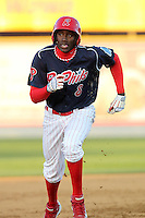 Reading Phillies outfielder Jiwan James #8 during a game against the Portland Seadogs at FirstEnergy Stadium on April 7, 2012 in Reading, Pennsylvania.  Reading defeated Portland 4-1.  (Mike Janes/Four Seam Images)