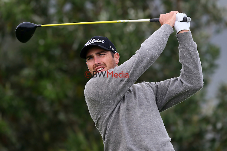 Daniel Pearce during the Autex Muriwai Open, Round One, Charles Tour, Muriwai Golf Course, Auckland, New Zealand. Thursday 30 April 2015. Photo: Simon Watts/www.bwmedia.co.nz <br /> All images &copy; NZ Golf and BWMedia.co.nz New Zealand Golf Images:<br />