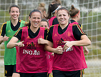 20180306 - LARNACA , CYPRUS :  Belgian Lenie Onzia and Justien Odeurs pictured during a Matchday -1 training from The Belgian Red Flames prior to their game against South Africa , on tuesday 6 March 2018 at the Alpha Sports Grounds in Larnaca , Cyprus . This will be the final game for Belgium during the Cyprus Womens Cup for a battle for the 5th place , a prestigious women soccer tournament as a preparation on the World Cup 2019 qualification duels. PHOTO SPORTPIX.BE | DAVID CATRY