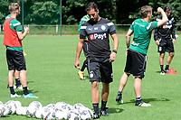 MARIENHOF - Voetbal, Trainingskamp FC Groningen , seizoen 2017-2018, 13-07-2017, Mischa Visser controleert de ballen