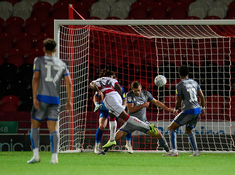 Doncaster Rovers' Kazaiah Sterling scores his side's second goal<br /> <br /> Photographer Chris Vaughan/CameraSport<br /> <br /> EFL Leasing.com Trophy - Northern Section - Group H - Doncaster Rovers v Lincoln City - Tuesday 3rd September 2019 - Keepmoat Stadium - Doncaster<br />  <br /> World Copyright © 2018 CameraSport. All rights reserved. 43 Linden Ave. Countesthorpe. Leicester. England. LE8 5PG - Tel: +44 (0) 116 277 4147 - admin@camerasport.com - www.camerasport.com