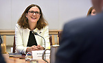 Cecilia Malmstrom, Trade Commissioner of the European Union, speaks in a meeting with Steven Ciobo, Australian Minister of Trade, at Parliament House, Canberra, Monday, June 18, 2018.