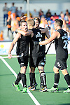The Hague, Netherlands, June 01: Phil Burrows #18 of New Zealand is congratulated by teammates after the field hockey group match (Men - Group B) between the Black Sticks of New Zealand and Korea on June 1, 2014 during the World Cup 2014 at GreenFields Stadium in The Hague, Netherlands. Final score 2:1 (1:0) (Photo by Dirk Markgraf / www.265-images.com) *** Local caption ***