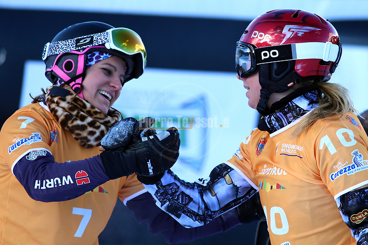 Snowboard World Cup 2018 FIS in Carezza, on December 14, 2017; Parallel Giant Slalom; Ester Ledecka (CZE), Ramona Hofmeister (GER)