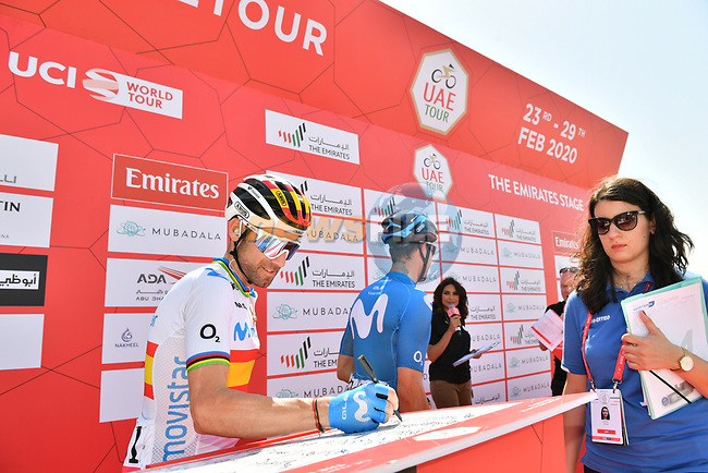 Spanish Champion Alejandro Valverde (ESP) Movistarv Team at sign on before Stage 3 The Emirates Stage of the UAE Tour 2020 running 184km from Al Qudra Cycle Track to Jebel Hafeet, Dubai. 25th February 2020.<br /> Picture: LaPresse/Massimo Paolone | Cyclefile<br /> <br /> All photos usage must carry mandatory copyright credit (© Cyclefile | LaPresse/Massimo Paolone)