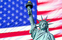 USA, New York, New York City. Statue of Liberty superimposed against the flag of the USA