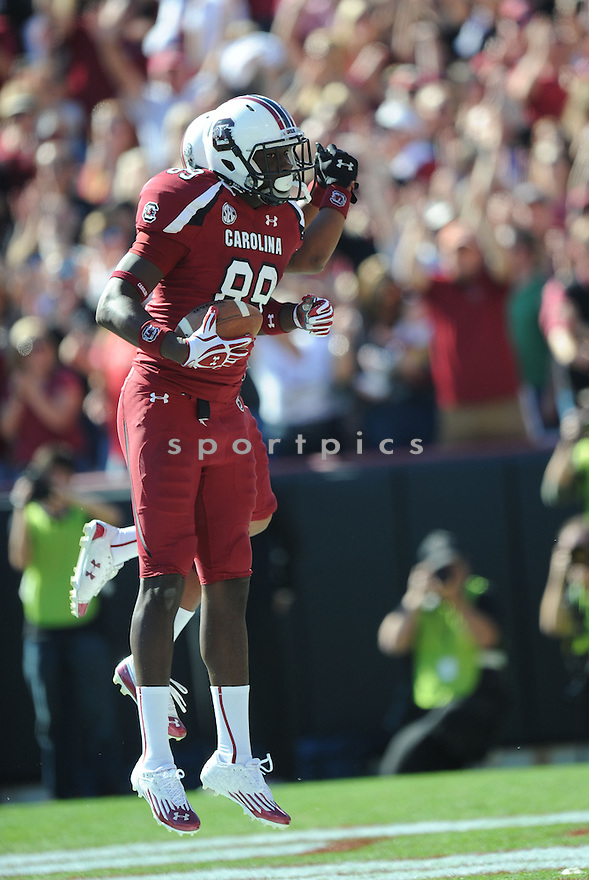 South Carolina Gamecocks Jerrell Adams (89) in action during a game against Arkansas on November 10, 2012 at Williams-Brice Stadium in Columbia, SC. South Carolina beat Arkansas 38-20.(AP Photo/Don Kelly)