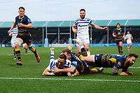James Wilson of Bath Rugby looks to reach the Worcester Warriors try line. Gallagher Premiership match, between Worcester Warriors and Bath Rugby on January 5, 2019 at Sixways Stadium in Worcester, England. Photo by: Patrick Khachfe / Onside Images