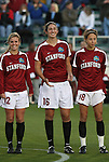 05 December 2008: Stanford's Kelley Birch (12), Shira Averbuch (16), and Kristy Zurmuhlen (18). The Notre Dame Fighting Irish defeated the Stanford Cardinal 1-0 at WakeMed Soccer Park in Cary, NC in an NCAA Division I Women's College Cup semifinal game.