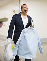 15 May 2018 - US House members have been sleeping in their offices and working out and hshowering before work. File Photo: United States Representative Keith Ellison (Democrat of Minnesota) walks through the hallway to the US House Members Gym in the Rayburn Building on Tuesday, March 20, 2018. Photo Credit: Ron Sachs/CNP/AdMedia