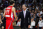 Serbia´s Bircevic receives the silver medal from Spain´s king Pelipe VI during FIBA Basketball World Cup Spain 2014 final award ceremony after losing against United States at `Palacio de los deportes´ stadium in Madrid, Spain. September 14, 2014. (ALTERPHOTOSVictor Blanco)