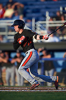 Aberdeen Ironbirds catcher Stuart Levy (40) at bat during a game against the Batavia Muckdogs on July 16, 2016 at Dwyer Stadium in Batavia, New York.  Aberdeen defeated Batavia 9-0. (Mike Janes/Four Seam Images)