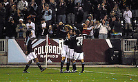 The Colorado Rapids celebrate a first half goal against the LA Galaxy during an MLS regular season match at Dicks Sporting Goods Park in Commerce City, Colorado on March 29, 2008. The Rapids defeated the Galaxy 4-0.