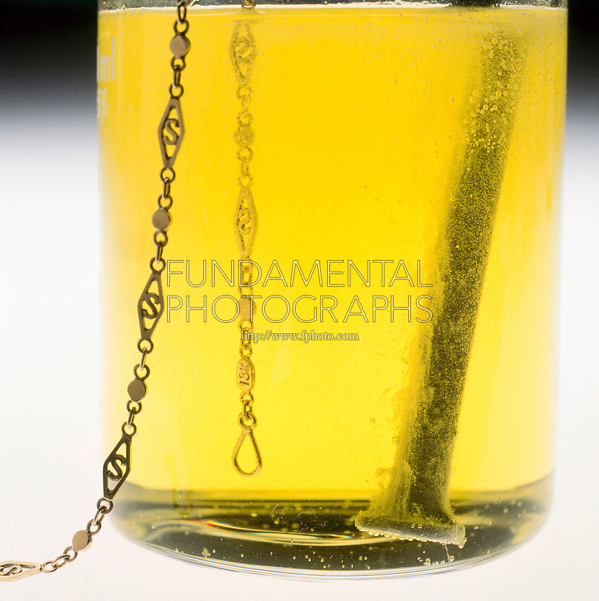 HYDROCHLORIC ACID REACTION COMPARISON: ZINC &amp; GOLD<br /> Gold Bracelet &amp; Zinc Plated Nail In Beaker Of HCl<br /> Gold bracelet is unaffected by hydrochloric acid. The zinc-plated (galvanized) nail reacts with acid, producing bubbles of hydrogen gas.