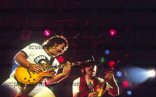 WHITESNAKE - guitarists Bernie Marsden and Micky Moody - performing live at the Reading Festival Reading UK  - 24 Aug 1980.  Photo credit: PG Brunelli/IconicPix