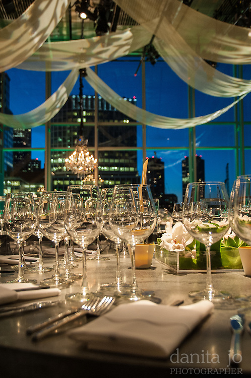 event table with city skyline