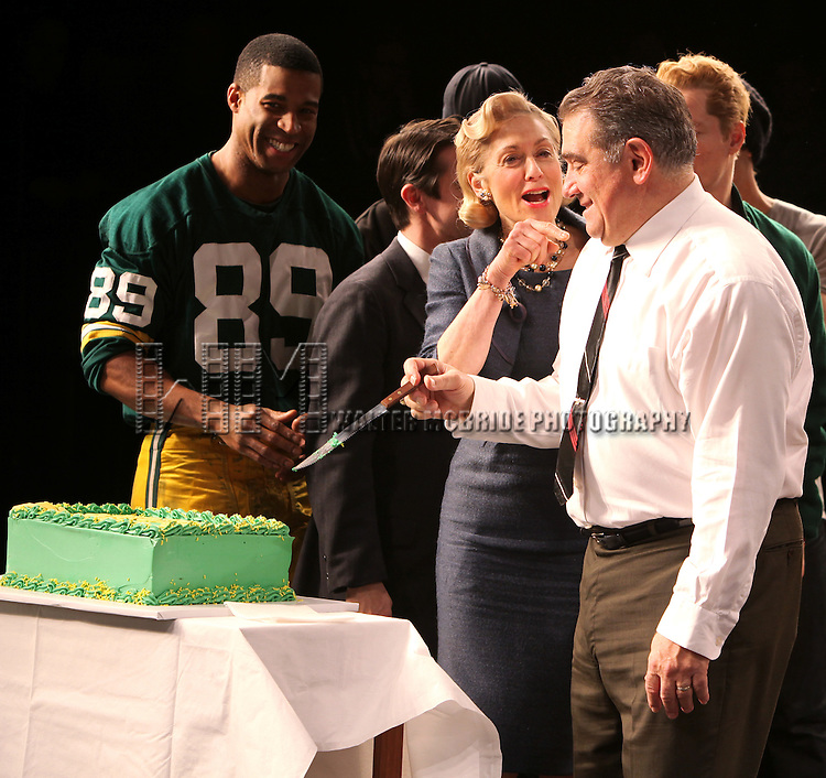 "Robert Christopher Riley, Judith Light, Dan Lauria, Chris Sullivan  .and the cast of ""Lombardi"" On Broadway's 100th Performance Celebration at Circle in the Square Theatre in New York City."