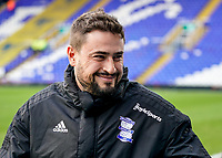 4th January 2020; St Andrews, Birmingham, Midlands, England; English FA Cup Football, Birmingham City versus Blackburn Rovers; Pep Clotet Manager of Birmingham City smiles with the fans - Strictly Editorial Use Only. No use with unauthorized audio, video, data, fixture lists, club/league logos or 'live' services. Online in-match use limited to 120 images, no video emulation. No use in betting, games or single club/league/player publications