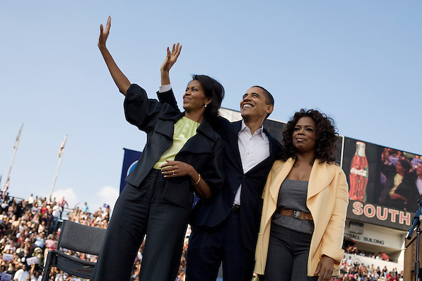 December 9, 2007. Columbia, SC.. Democratic presidential hopeful and US Senator, Barack Obama held a rally for an estimated 29,000 people at the University of South Carolina's football stadium with special guest Oprah Winfrey.. Michelle and Barack Obama and Oprah Winfrey.. .