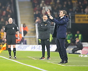5th February 2019, Molineux Stadium, Wolverhampton, England; FA Cup football, 4th round replay, Wolverhampton Wanderers versus Shrewsbury Town; Shrewsbury Town Manager Samuel Ricketts giving instructions to his team from the side line during the first half