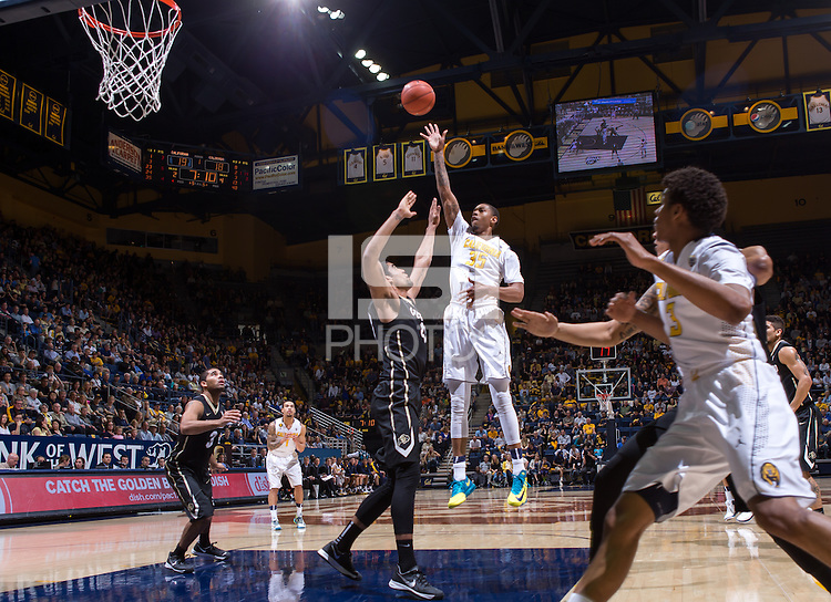California's Richard Solomon shoots for the basket during a game at Haas Pavilion in Berkeley, California on March 8th, 2014. California defeated Colorado 66 - 65