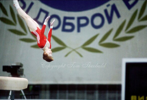 July 23, 1983; Moscow, Soviet Union; Artistic gymnast Elena Shevchenko of Soviet Union performs vault at 1986 Goodwill Games in Moscow.  Copyright 1983 Tom Theobald