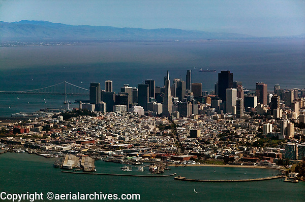 aerial photograph San Francisco skyline from Aquatic Park