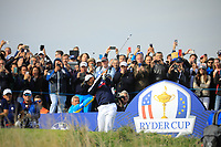 Tiger Woods (Team USA) during the Friday Fourballs at the Ryder Cup, Le Golf National, Paris, France. 27/09/2018.<br /> Picture Phil Inglis / Golffile.ie<br /> <br /> All photo usage must carry mandatory copyright credit (© Golffile | Phil Inglis)